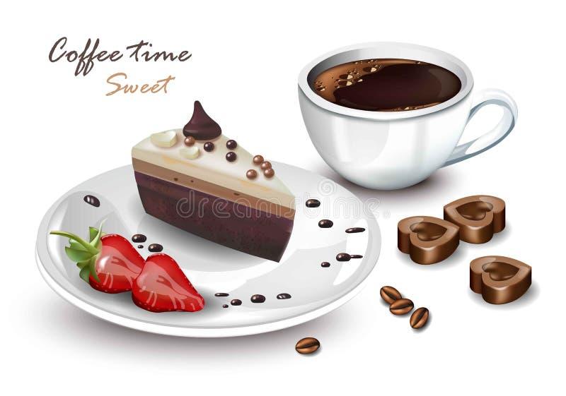 Copo de café e vetor doce da fatia do bolo realísticos Cartões de Coffeetime imagem de stock