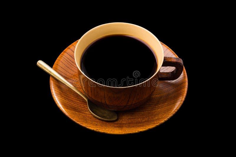 Copo de café feito da madeira isolada no branco ilustração do vetor