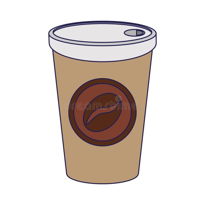 Copo de café a ir beber linhas azuis ilustração royalty free