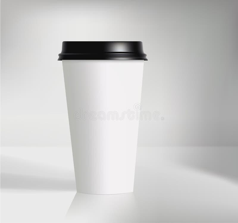 Copo de café de marcagem com ferro quente da ilustração do vetor no fundo cinzento foto de stock royalty free