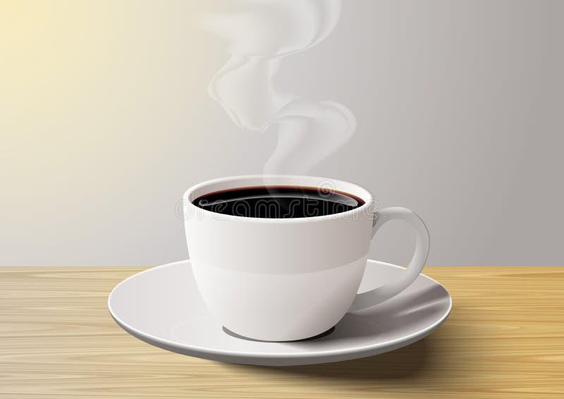 Copo de café na tabela de madeira na manhã fotos de stock