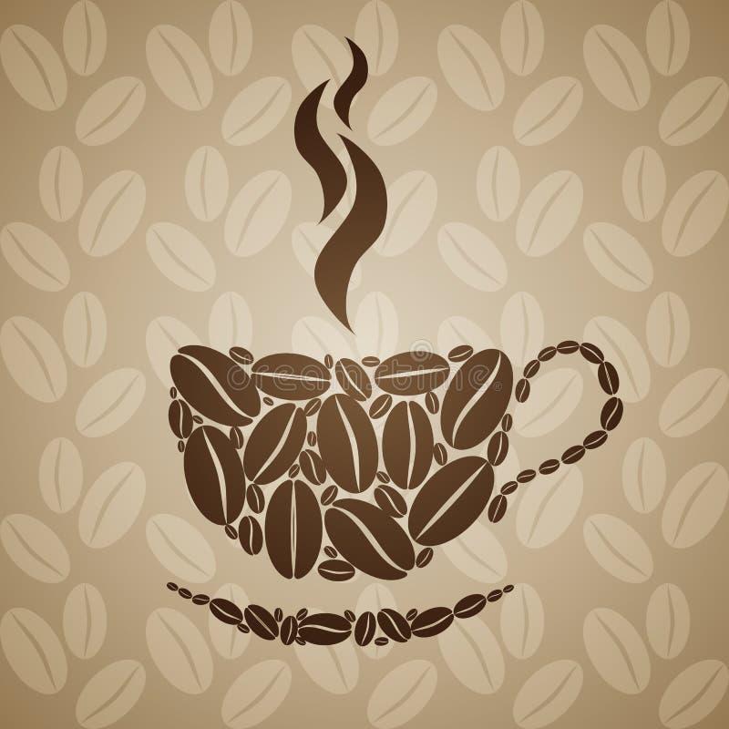 Copo de café no fundo sem emenda com feijões de café ilustração stock