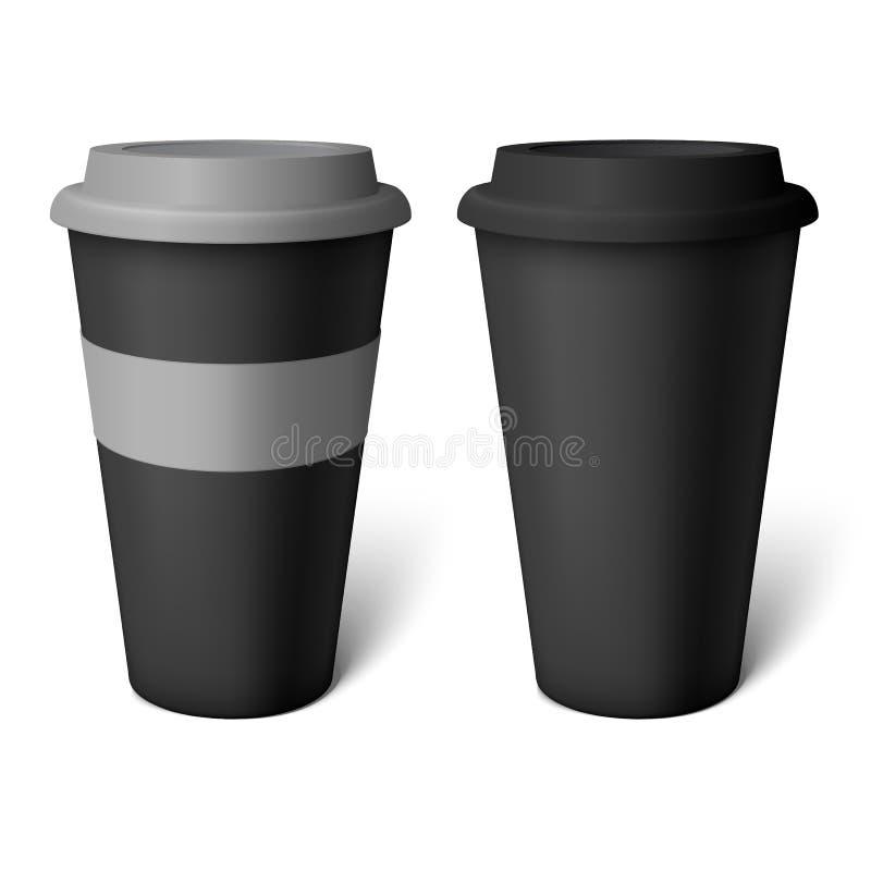 Copo de café preto do modelo ilustração royalty free