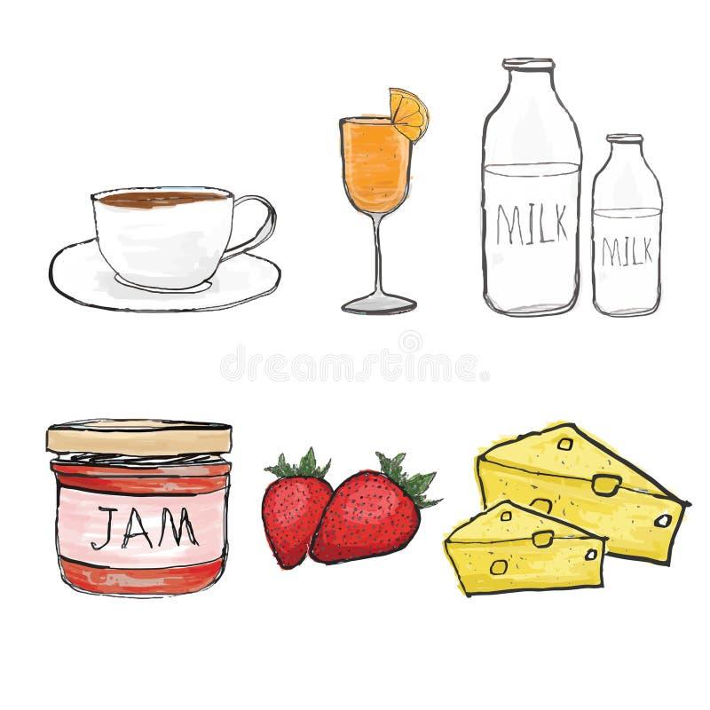 Copo de café, suco de laranja, leite, doce, stawberry, pedaço do queijo ilustração royalty free