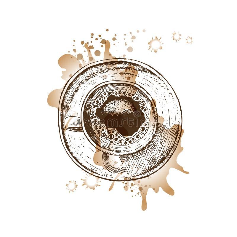 Copo de café tirado mão com pontos da aquarela Esboço do vetor ilustração royalty free