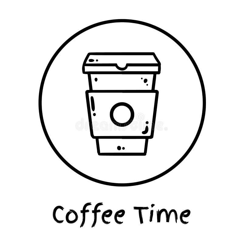Copo de café tirado mão a ir ícone Os meios sociais destacam o logotipo Garatuja do copo do tempo do café Vetor isolado ilustração royalty free