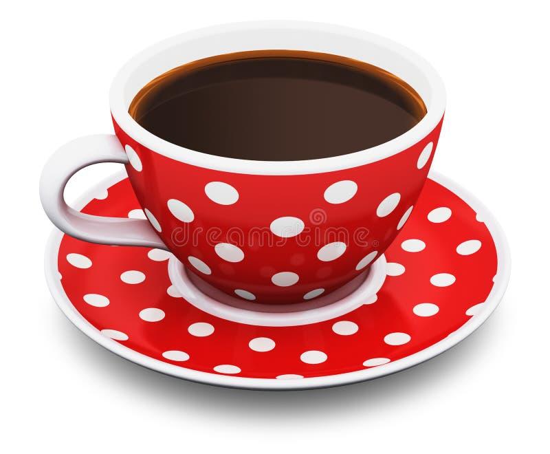 Copo de café vermelho do às bolinhas ilustração royalty free