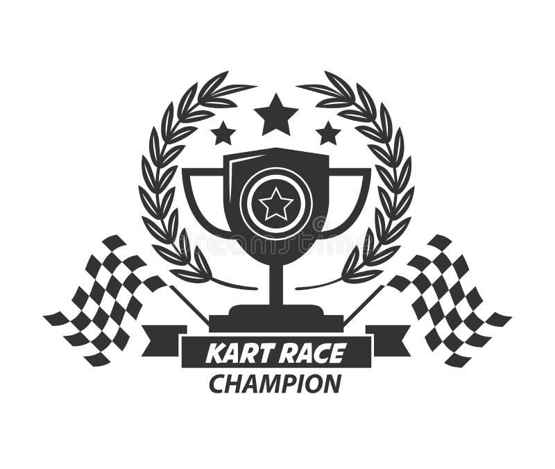 Copo de campeão do logotipo de Karting, grinalda do louro, estrelas e bandeiras ilustração do vetor