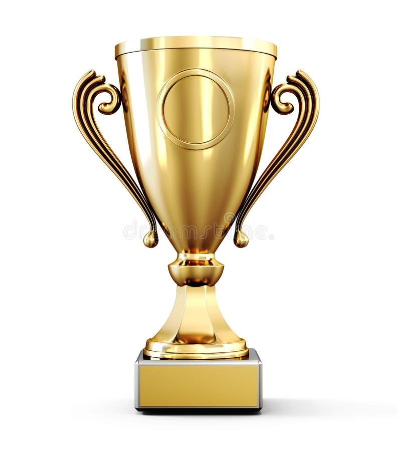 Copo de campeão dourado isolado no fundo branco rendição 3d ilustração royalty free