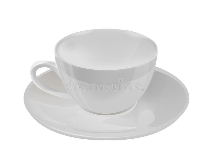 Copo de chá branco da porcelana fina Ilustração do vetor 3D isolada no fundo branco ilustração stock