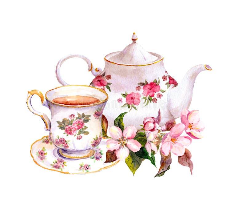 Copo de chá, bule com flores Projeto da aquarela do vintage ilustração stock