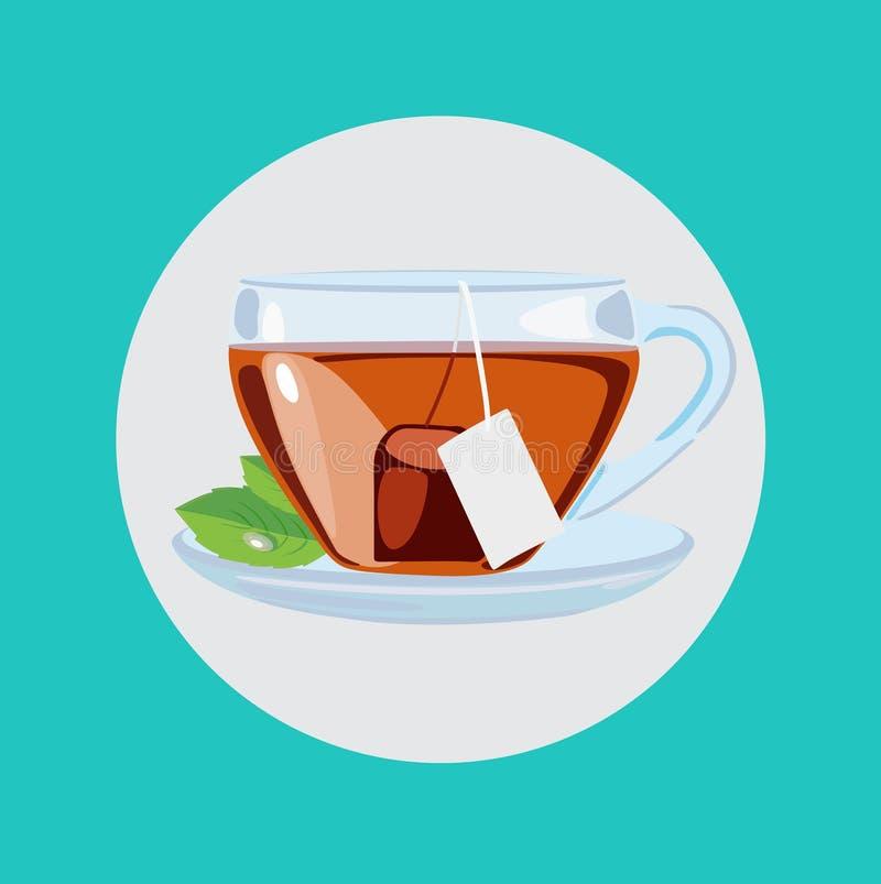 Copo de chá com vetor liso do projeto das folhas ilustração do vetor