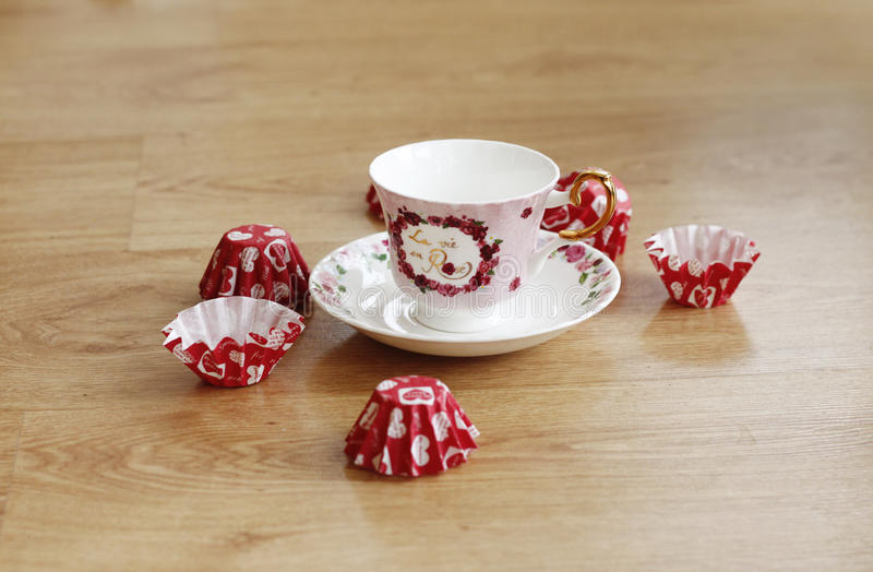 Copo de chá elegante fotografia de stock royalty free