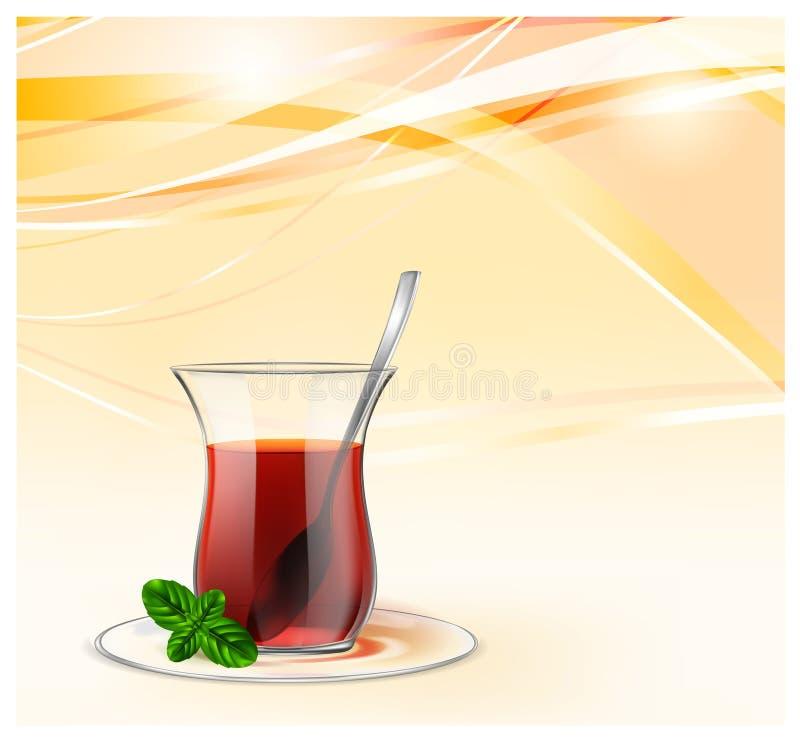 Copo de chá turco com chá preto, a colher de prata e a hortelã no fundo amarelo das ondas Ilustração do chá para anunciar ilustração do vetor