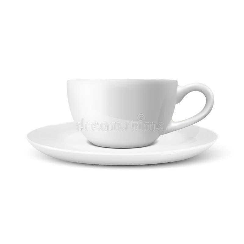 Copo de chá vazio lustroso realístico do café branco do vetor 3d, close up do ícone da caneca isolado no fundo branco Molde do pr ilustração do vetor