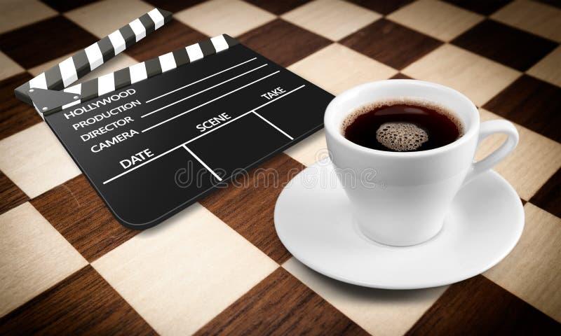 Copo de Coffe e filme da palhaçada imagens de stock royalty free