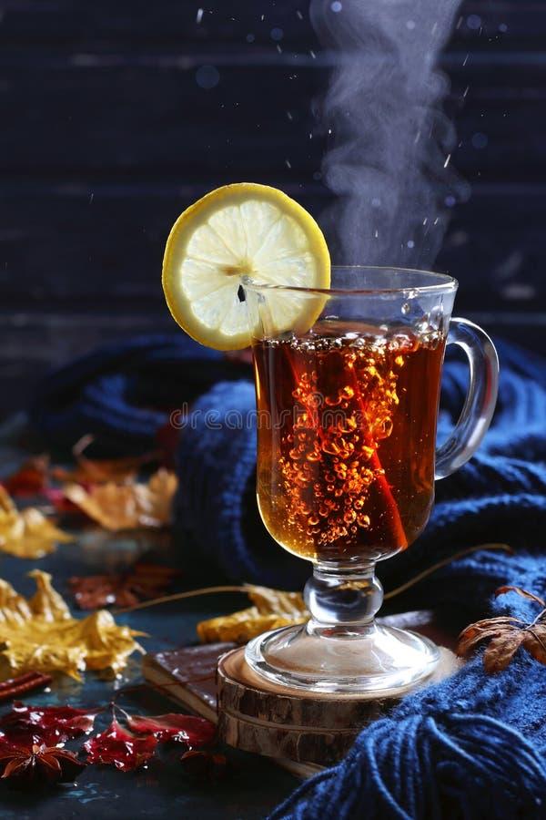 Copo de ferver o chá preto com canela e limão na decoração do outono fotos de stock royalty free