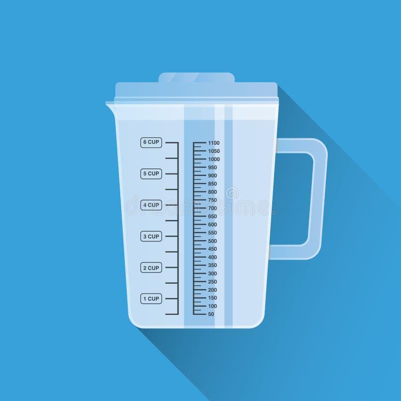 Copo de medição da cozinha Projeto liso Ilustração do vetor Utensílio de cozimento Material de cozinha ilustração stock