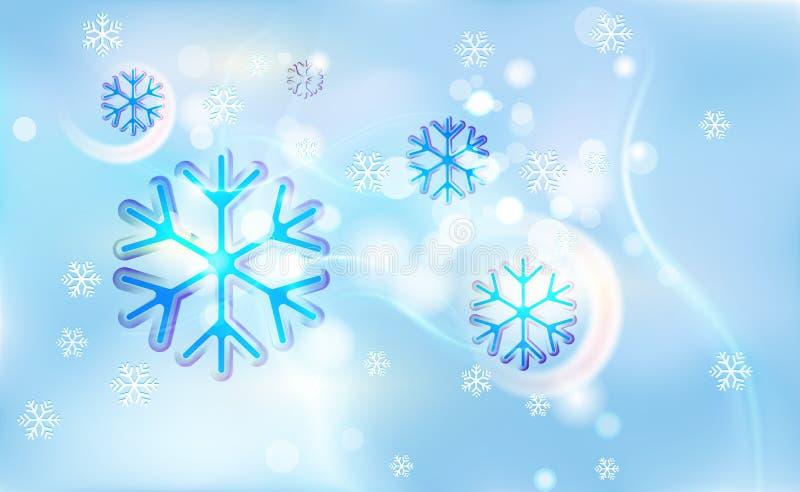 Copo de nieve abigarrado en una falta de definición caótica para la Navidad, Año Nuevo, bokeh de copos de nieve ligeros en azul d ilustración del vector