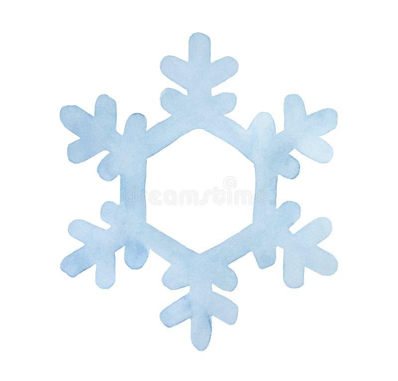 Copo de nieve azul claro de la acuarela Símbolo hermoso de la estación del invierno y de los días de fiesta del Año Nuevo ilustración del vector