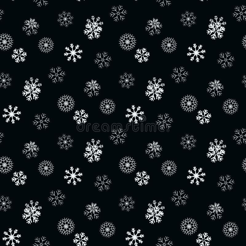 Copo de nieve blanco en modelo inconsútil simple negro Papel pintado abstracto, envolviendo la decoración Símbolo del invierno, F libre illustration