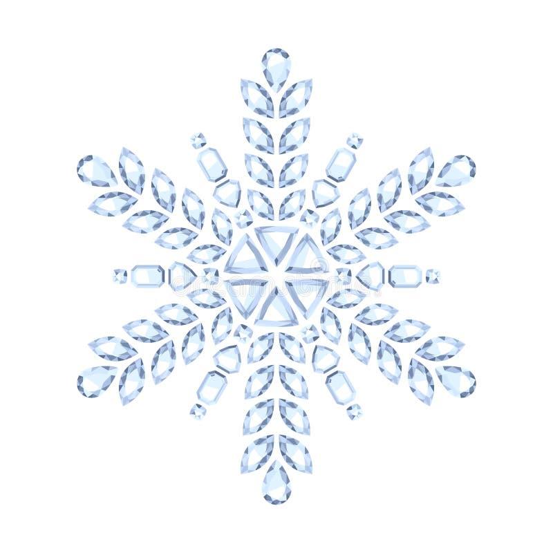 Copo de nieve brillante de la Navidad de la piedra preciosa del diamante stock de ilustración
