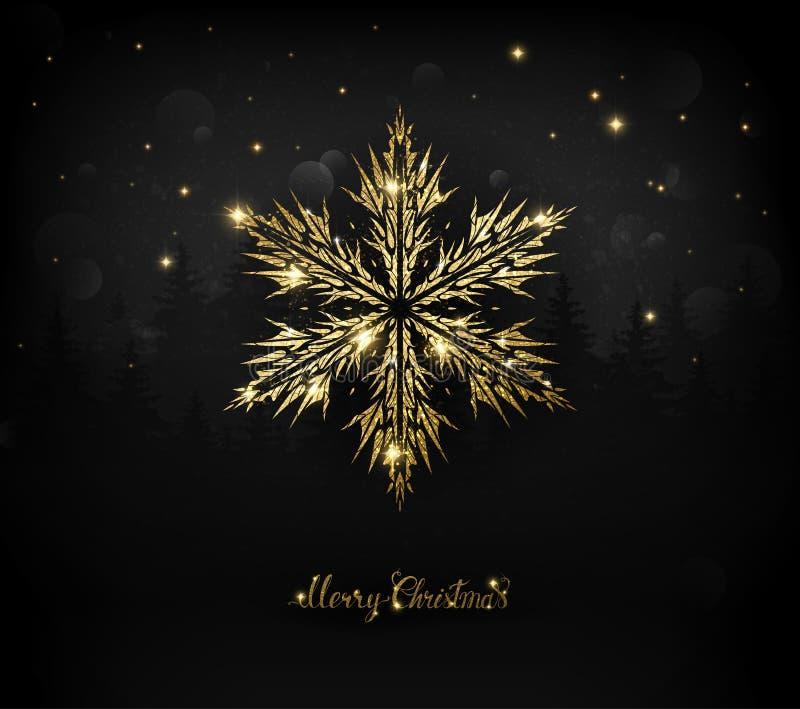 Copo de nieve brillante de la textura del oro en el negro stock de ilustración