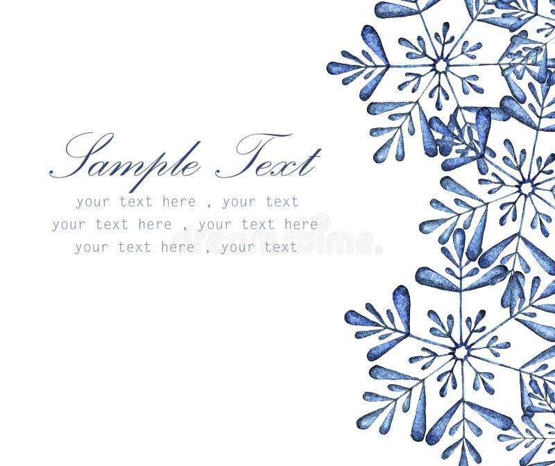 Copo de nieve con el lugar para el watercolo pintado texto-mano ilustración del vector
