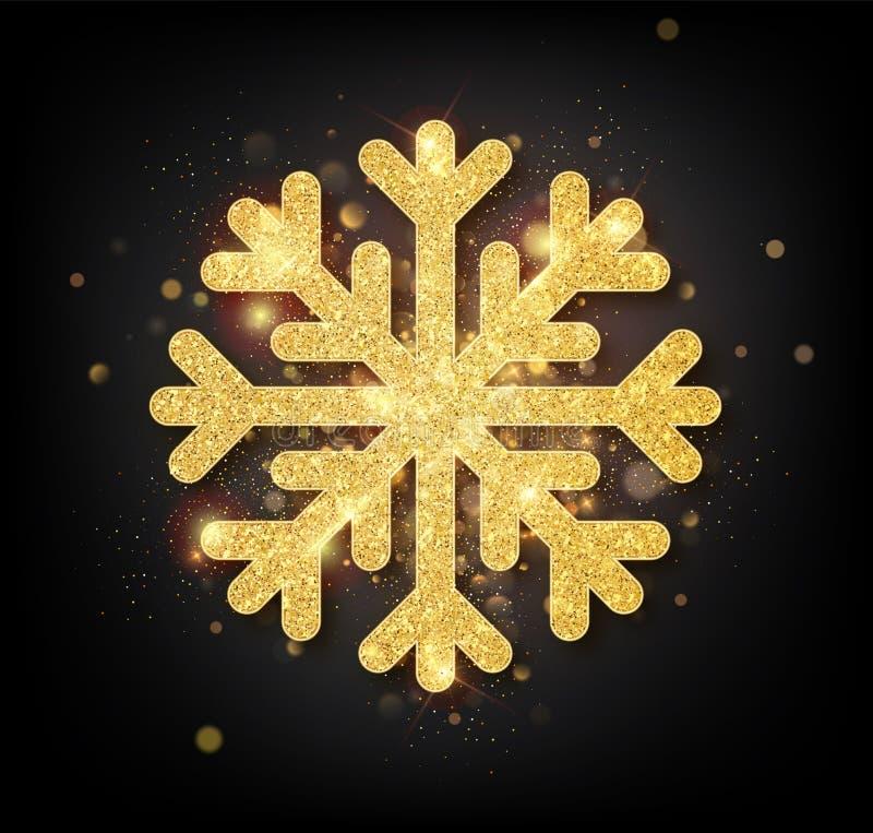 Copo de nieve con textura del brillo del oro La Navidad, decoración de oro del ornamento del Año Nuevo que brilla en fondo negro  ilustración del vector