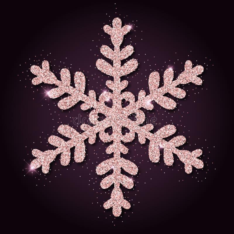 Copo de nieve de fascinación del brillo de oro rosado libre illustration