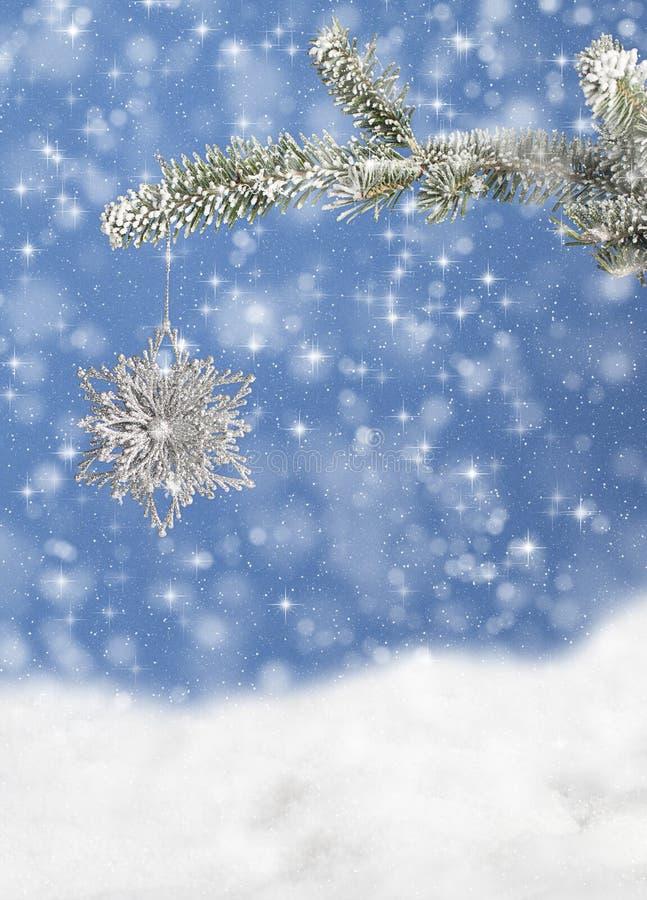 Copo de nieve de la Navidad en la rama 2 del pino foto de archivo libre de regalías