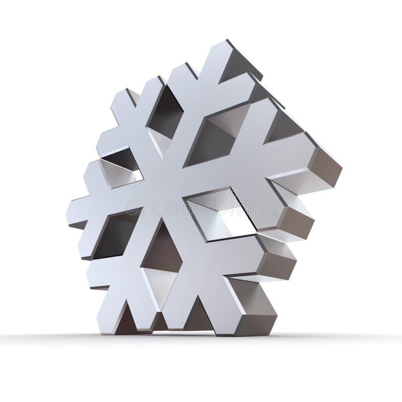 Copo de nieve de plata brillante del cromo ilustración del vector