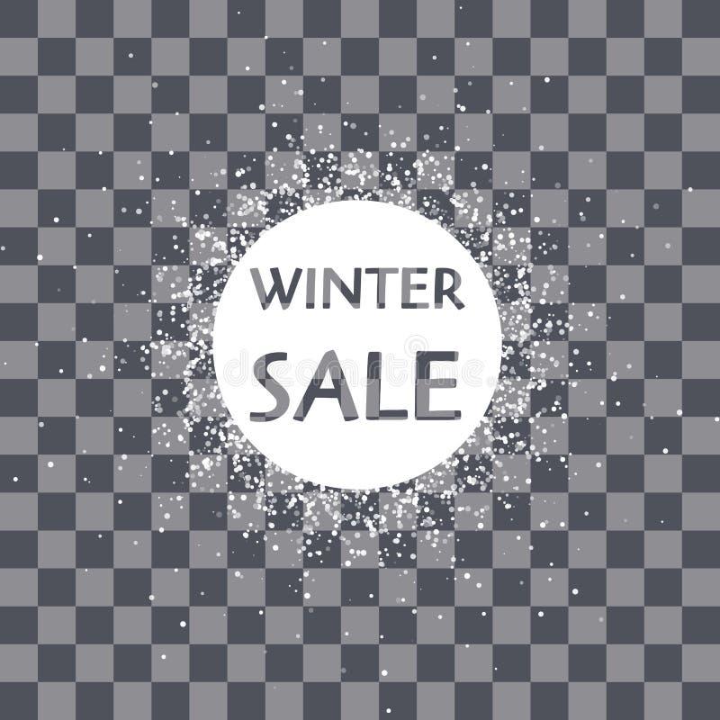 Copo de nieve del marco del círculo del vector Nieve que cae Año Nuevo de las vacaciones de invierno y Feliz Navidad stock de ilustración
