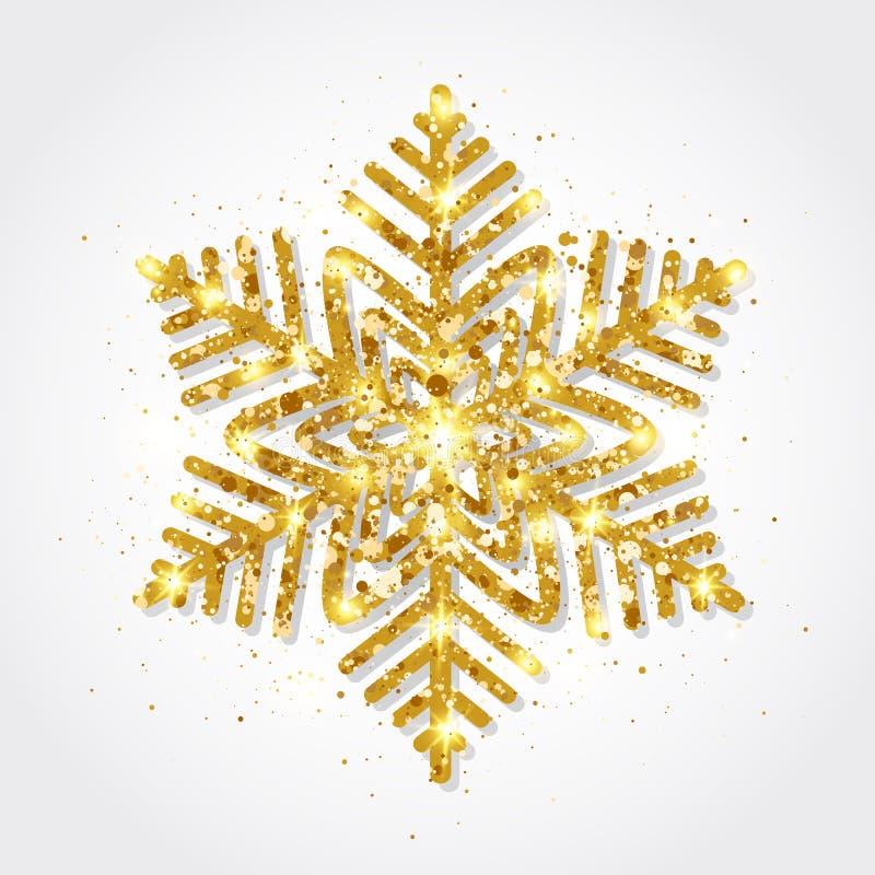 Copo de nieve del oro del brillo en el fondo blanco Copos de nieve de oro que brillan intensamente con textura del brillo Copo de libre illustration