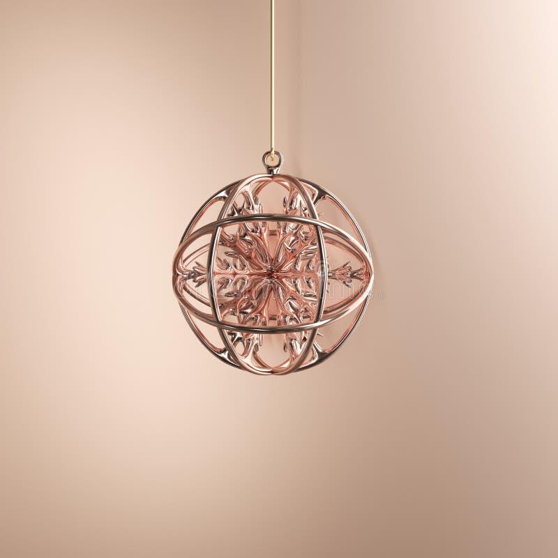copo de nieve del Rose-oro en el ornamento de la Navidad del vidrio del mercurio del rosa-oro en fondo del rosa-oro stock de ilustración
