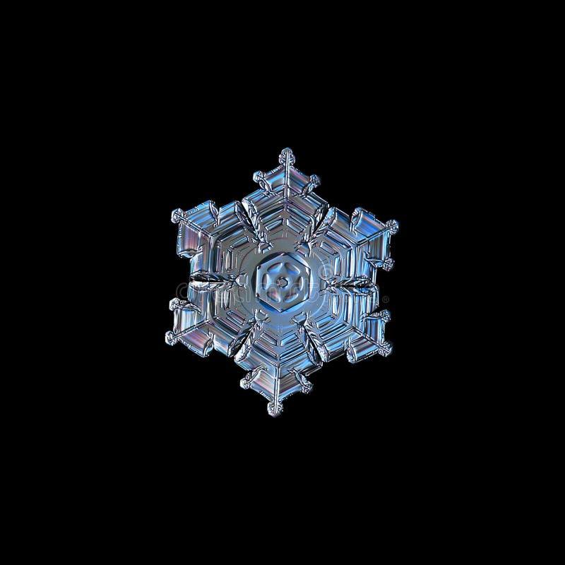 Copo de nieve en fondo negro fotografía de archivo libre de regalías