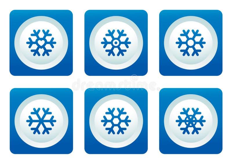 Copo de nieve fijado en el botón azul libre illustration