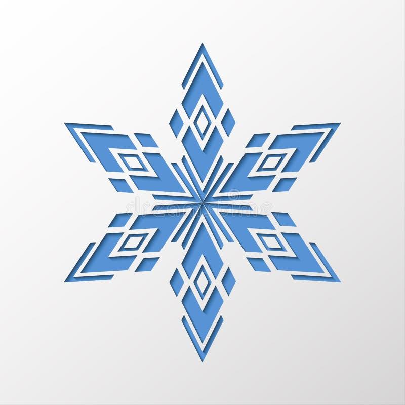 Copo de nieve geométrico simple cortado en el papel con efecto de sombra ilustración del vector
