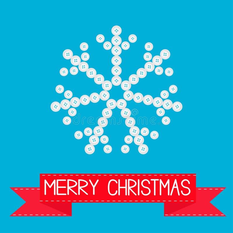 Copo de nieve grande de los pequeños botones Cinta rosada Diseño plano de la tarjeta de la Feliz Navidad libre illustration