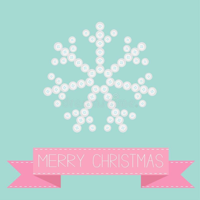 Copo de nieve grande de los pequeños botones Cinta rosada Diseño plano de la tarjeta de la Feliz Navidad ilustración del vector