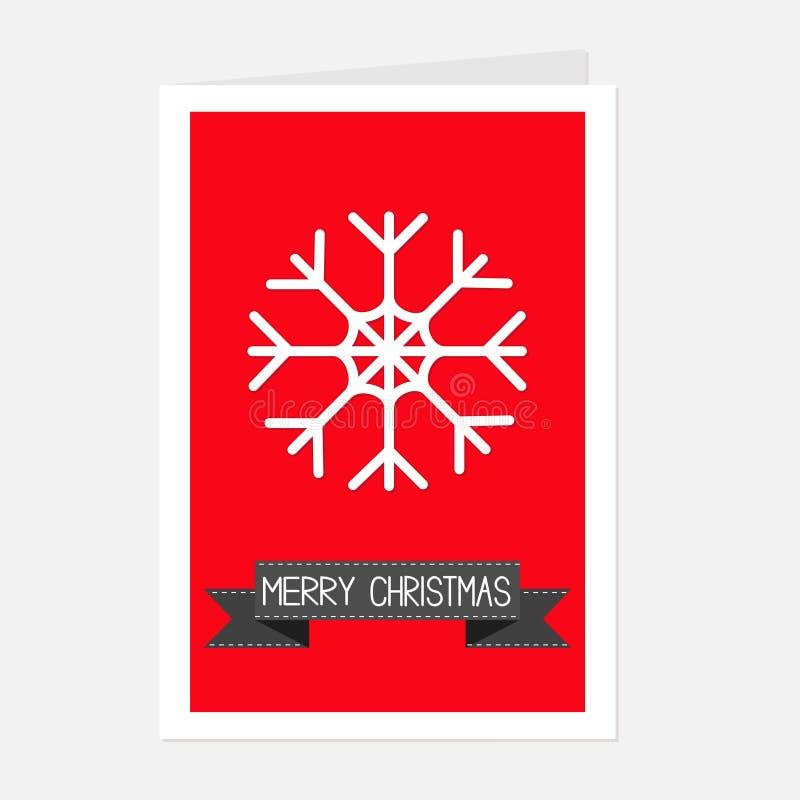 Copo de nieve grande y cinta negra Texto de la Feliz Navidad Tarjeta de felicitación Diseño plano ilustración del vector