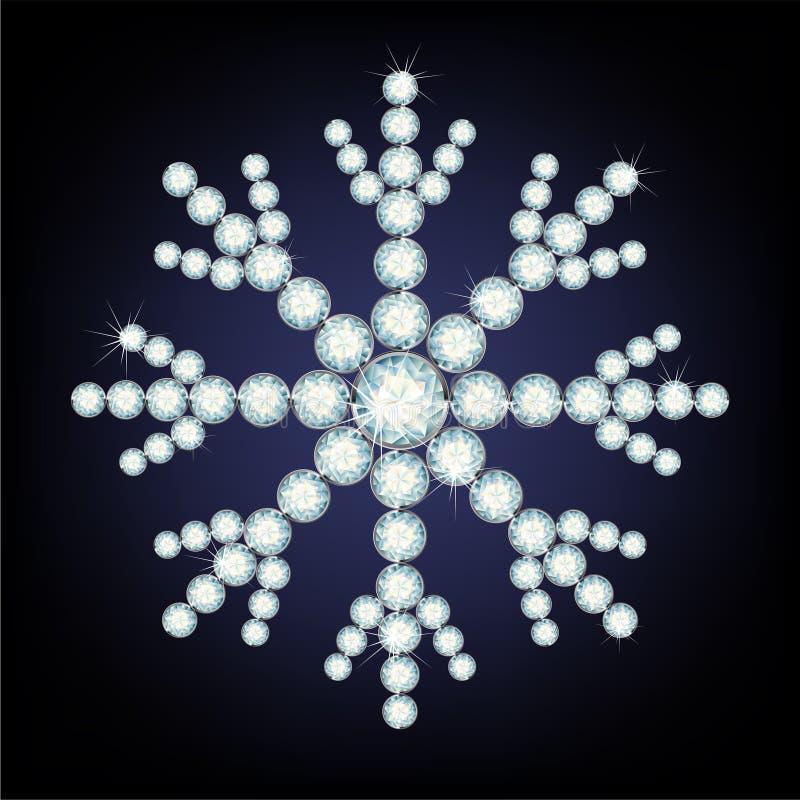 Copo de nieve hecho de diamantes. ilustración del vector