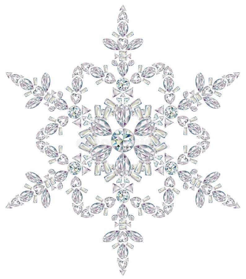 Copo de nieve hecho de diferente cortar diamantes ilustración del vector