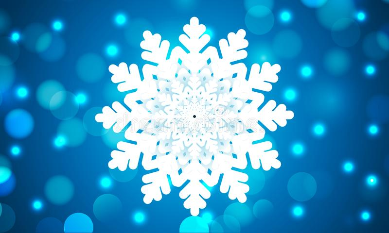 Copo de nieve hermoso en fondo azul del bokeh libre illustration