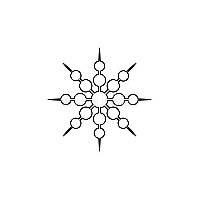 Copo de nieve negro del invierno aislado en la línea blanca silueta del fondo del icono ilustración del vector