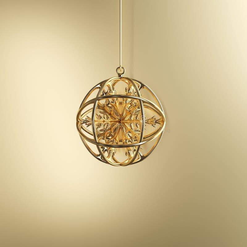Copo de nieve de oro en el ornamento de oro de la Navidad del vidrio del mercurio en fondo de oro libre illustration