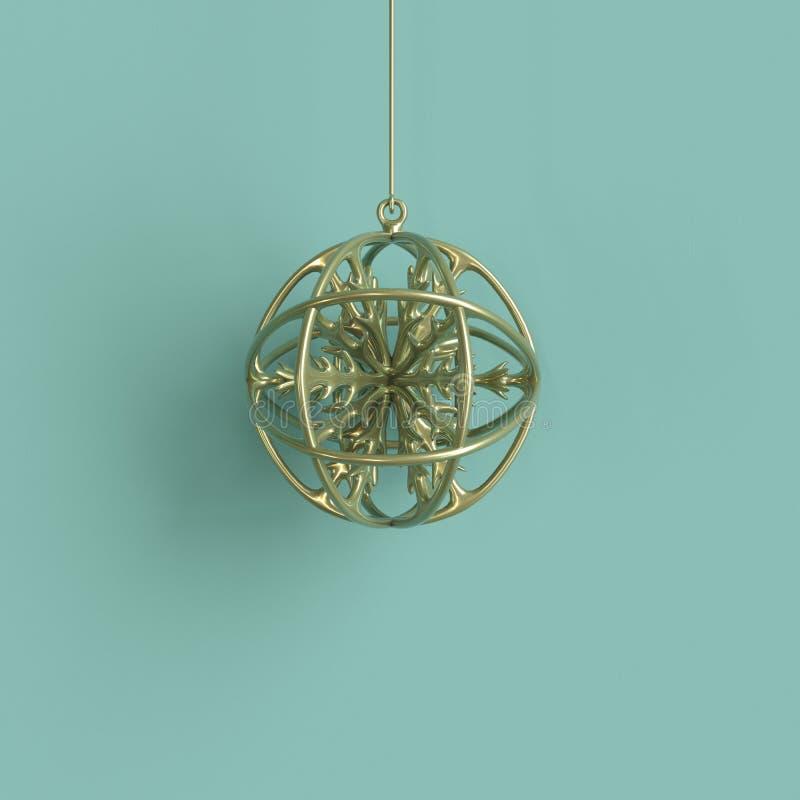 Copo de nieve de oro en el ornamento de oro de la Navidad del vidrio del mercurio en fondo verde ilustración del vector