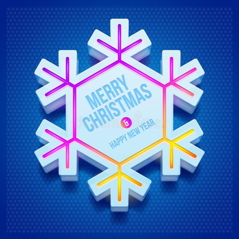 Copo de nieve tridimensional de la Navidad stock de ilustración