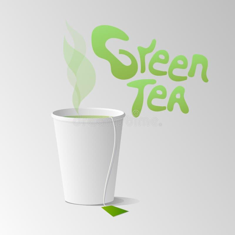 Copo de papel com ilustração do vetor do chá verde ilustração stock