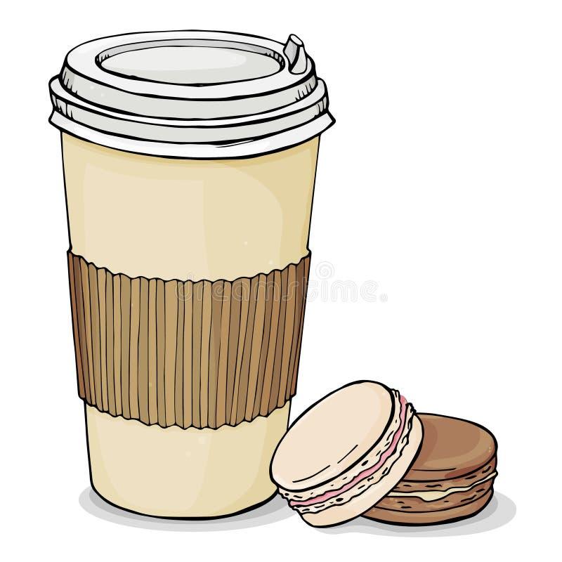 Copo de papel com a tampa com o café quente a levar embora e as cookies frescas do bolinho de amêndoa Ilustração do vetor no fund ilustração stock